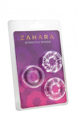 3 Cockrings Strech Rings Clear - Zahara